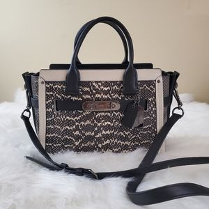 Coach Swagger 27 Snake Black & Chalk Satchel